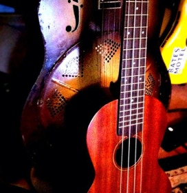 Close up of ukueles at a show